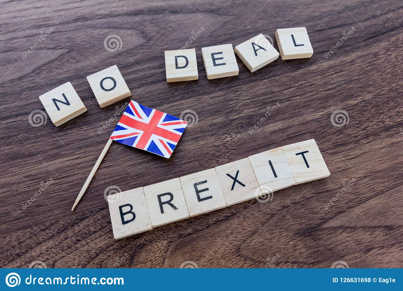 No Deal Brexit with Union Jack Flag