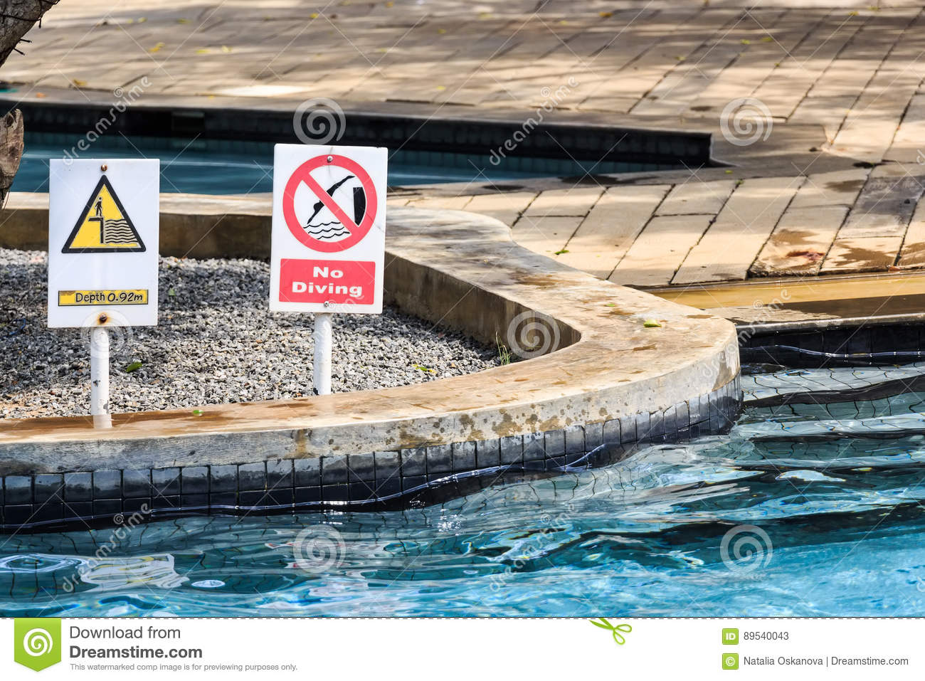 No Diving And Depth Signs In Swimmimg Pool Stock Image