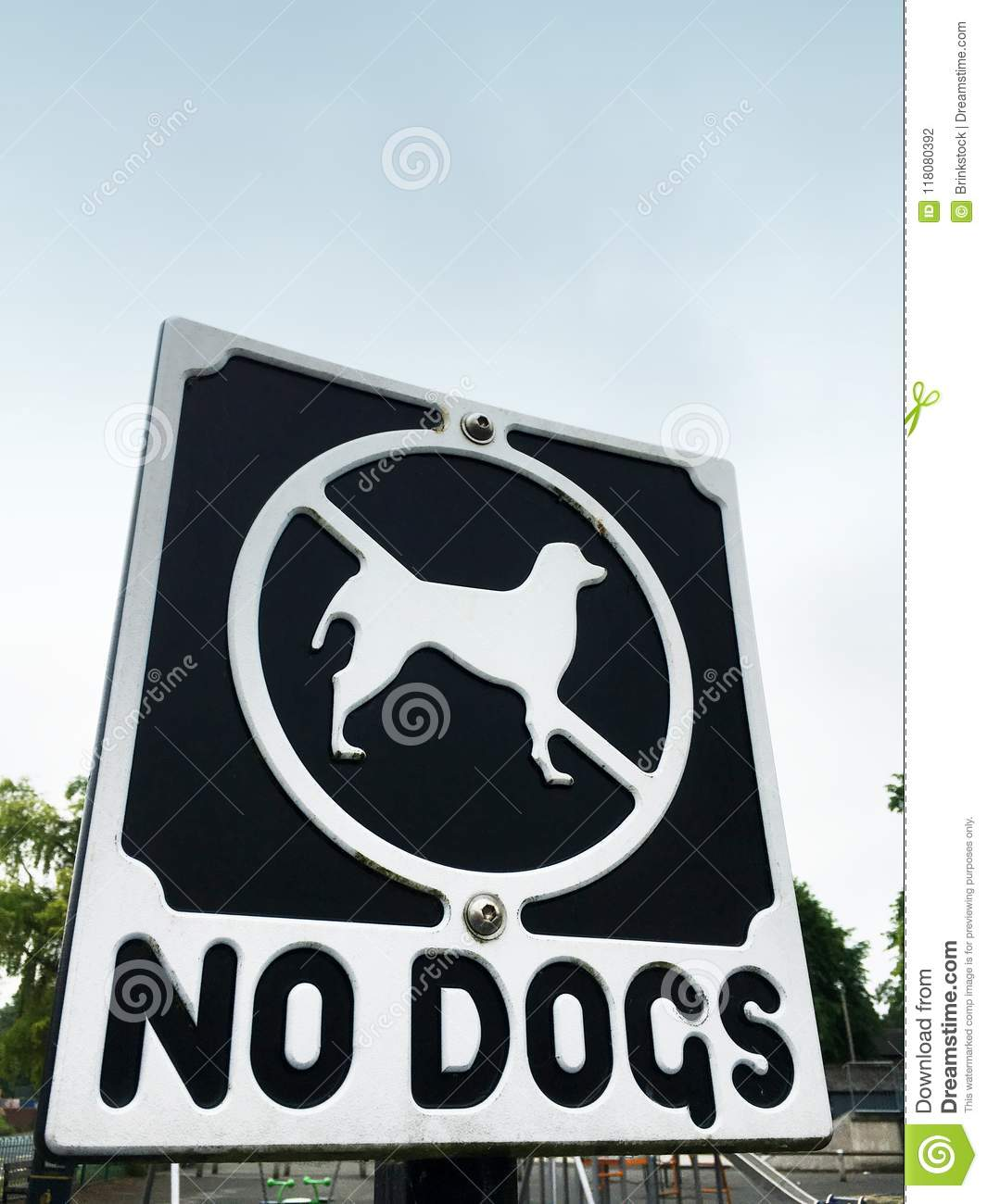 No dogs sign in children`s play area UK