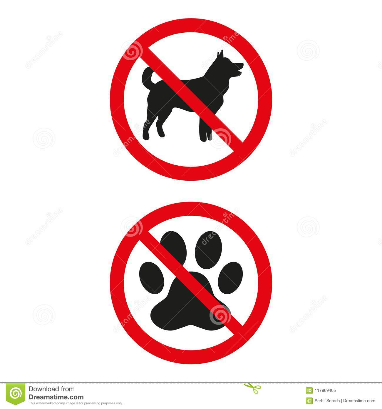 No dogs sign on white background.
