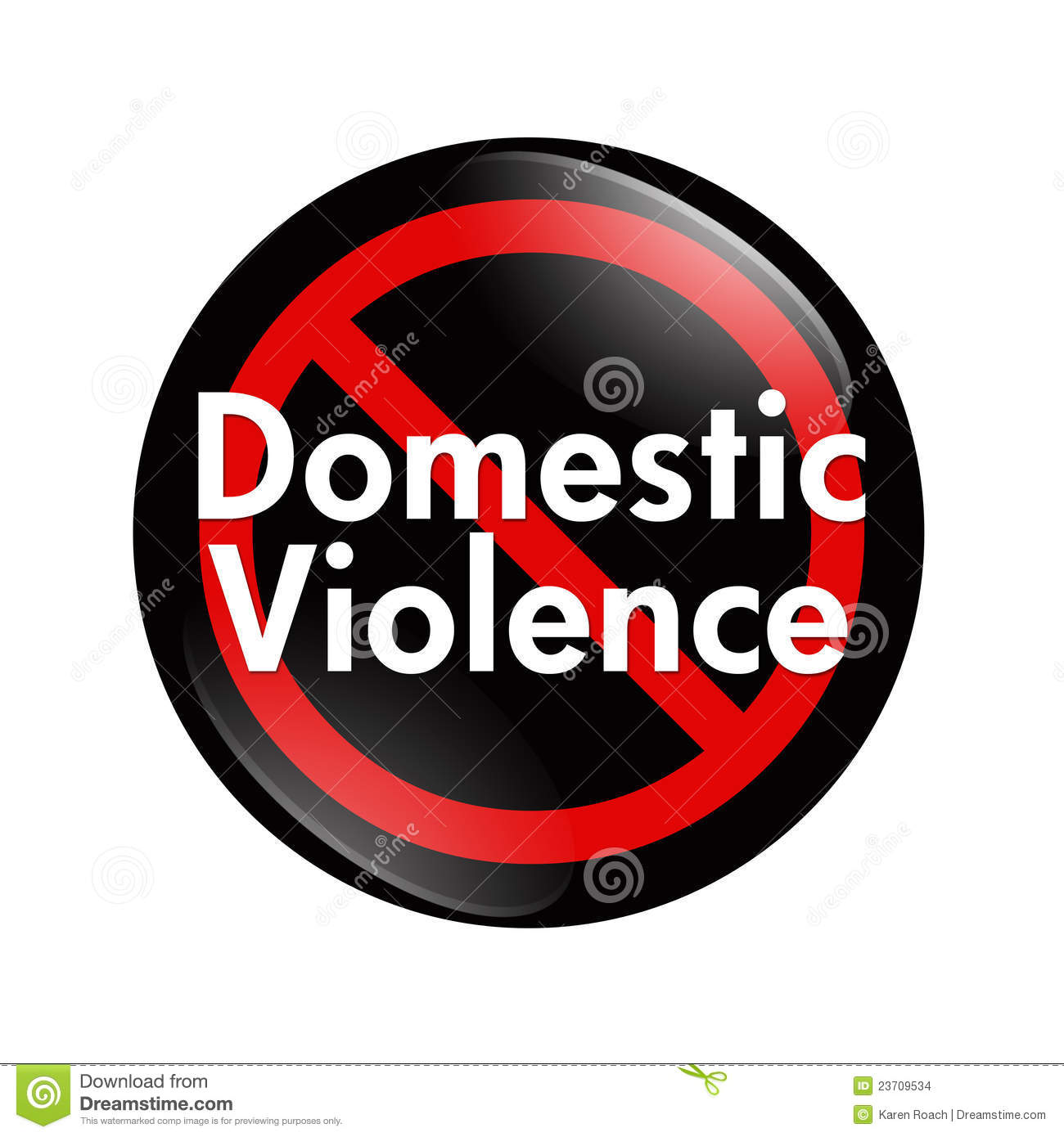 Domestic Violence Content: No Domestic Violence Button Stock Images