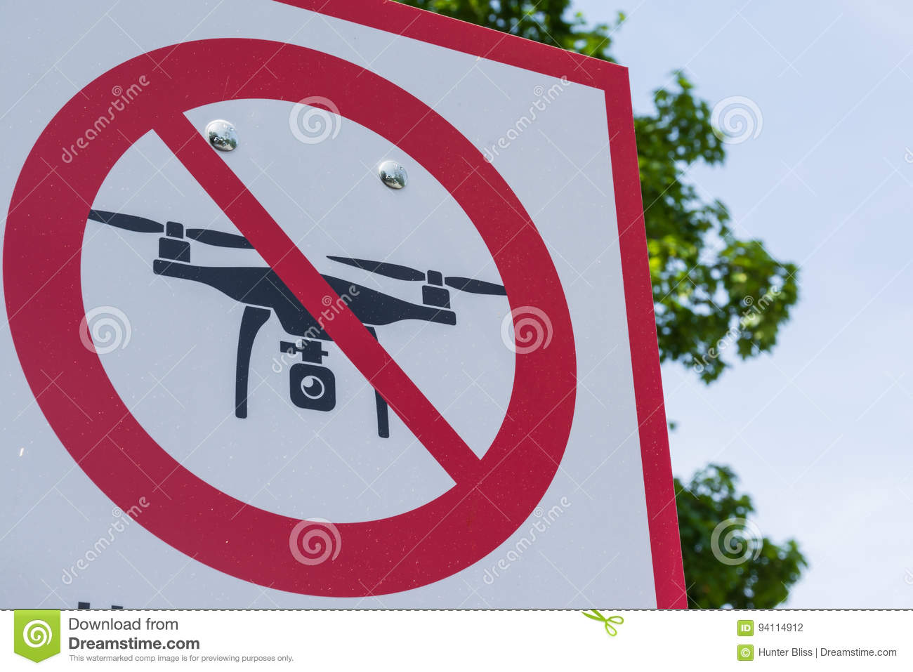 No Drone Zone Sign Cross Red White Metal Real Outdoors Tourist L
