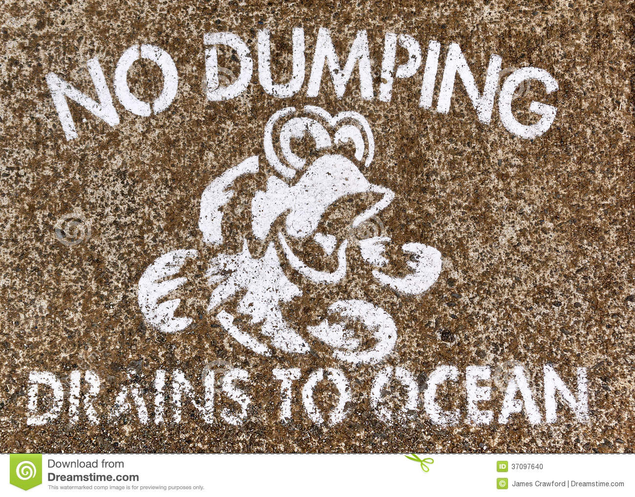 No Dumping Drains To Ocean Stock Photo Image 37097640