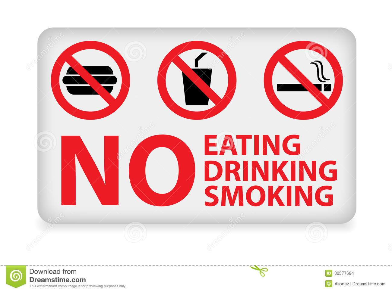 No Eating,drinking,smoking Sign Stock Vector