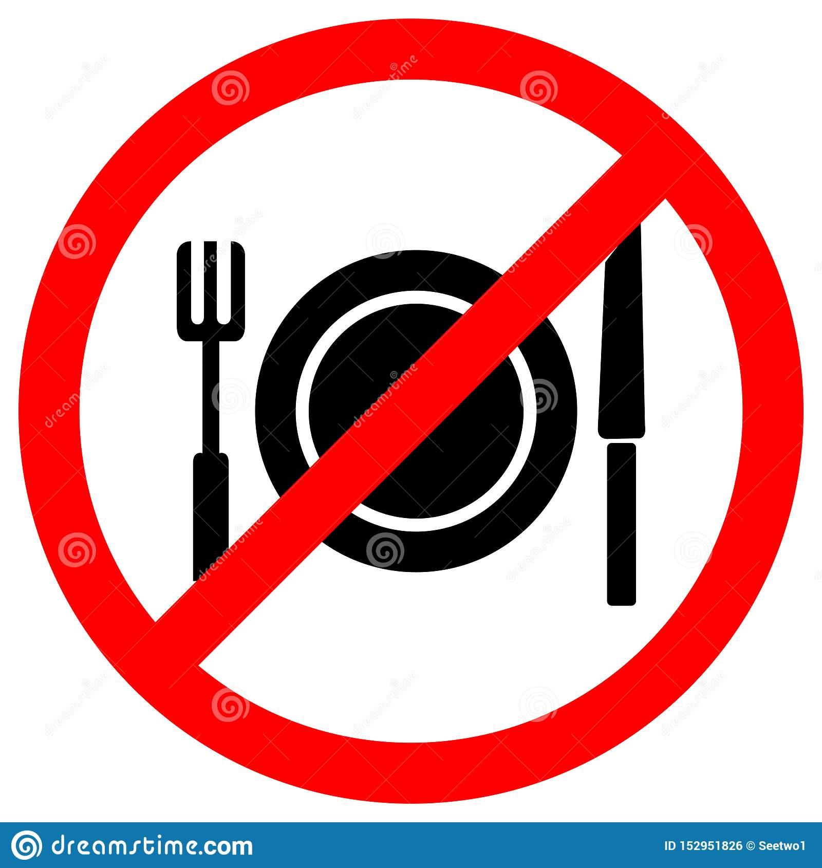No Eating Symbol Sign Isolate On White Background,Vector Illustration EPS.10