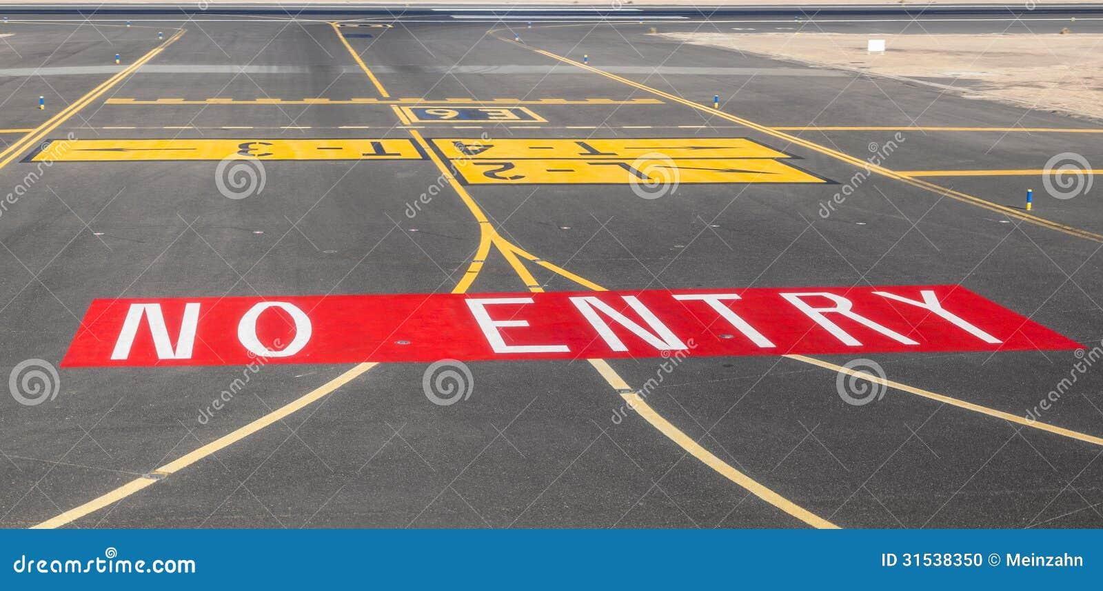 No Entry Sign At The Runway Stock Photo Image 31538350