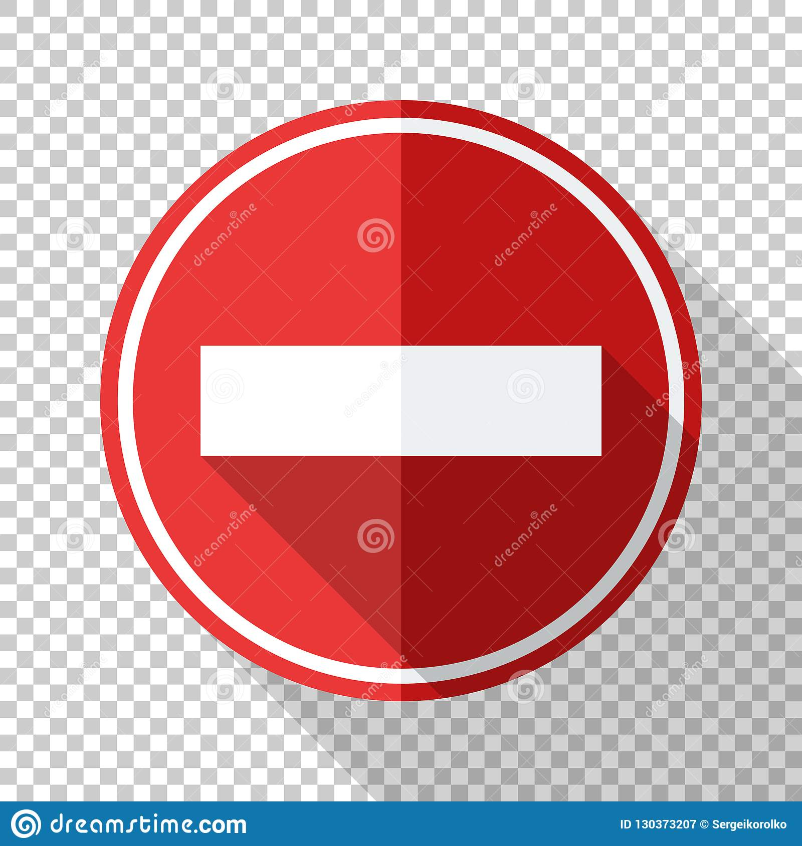 No Entry Traffic Sign In Flat Style On Transparent Background Stock