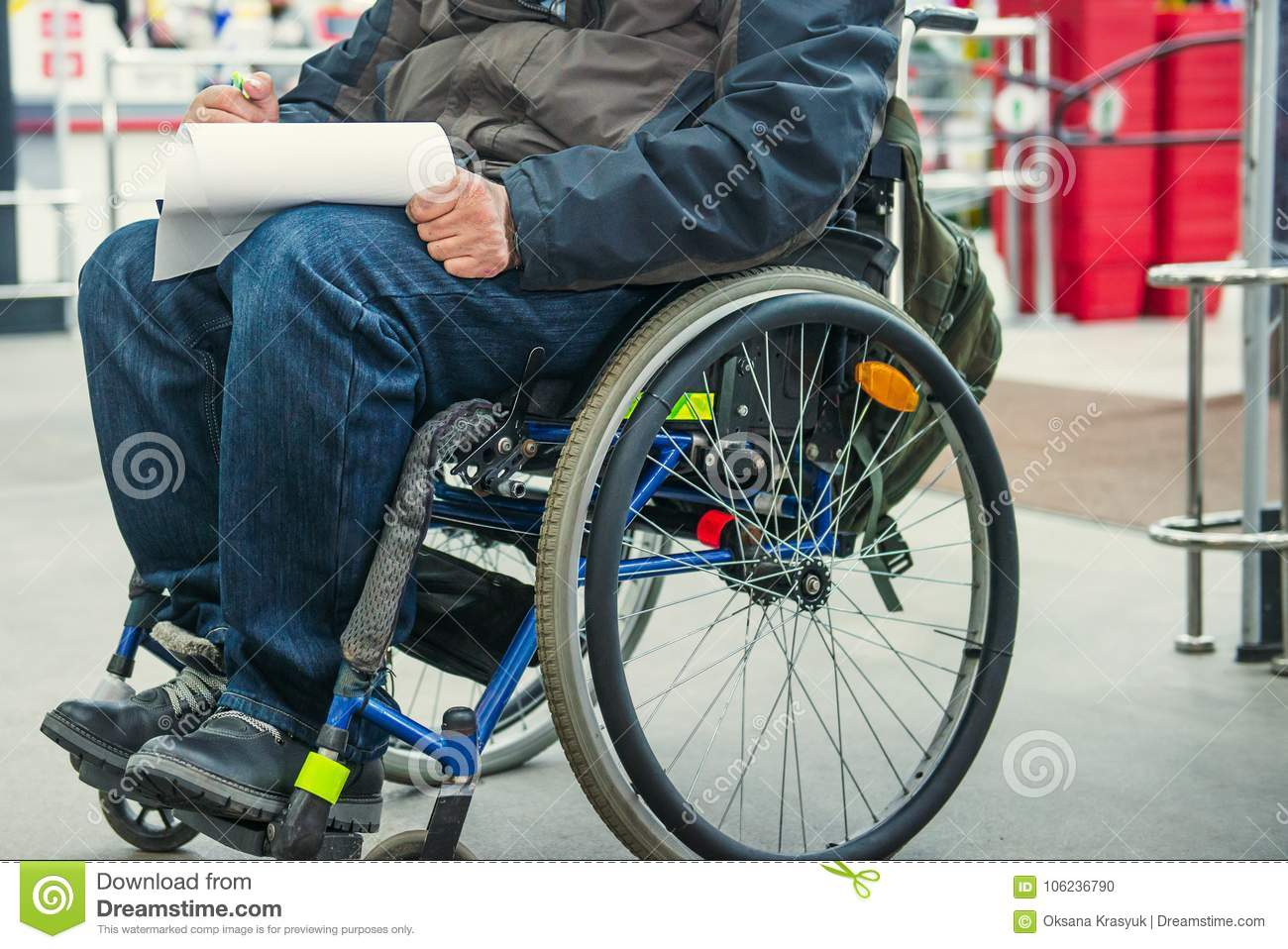No Face Disabled, Handicapped Person On Wheeled Chair Fills The Form ...