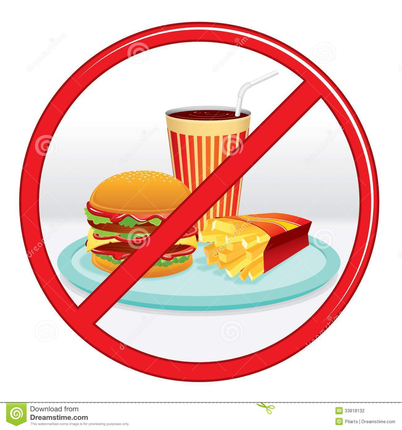 No Fast Food. Prohibition Sign. Vector Label. Stock Photography ...