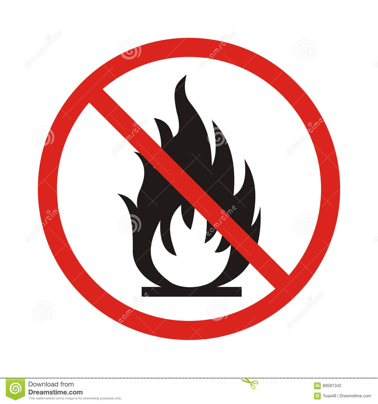 No Fire sign. Prohibition open flame symbol. Red icon on white b