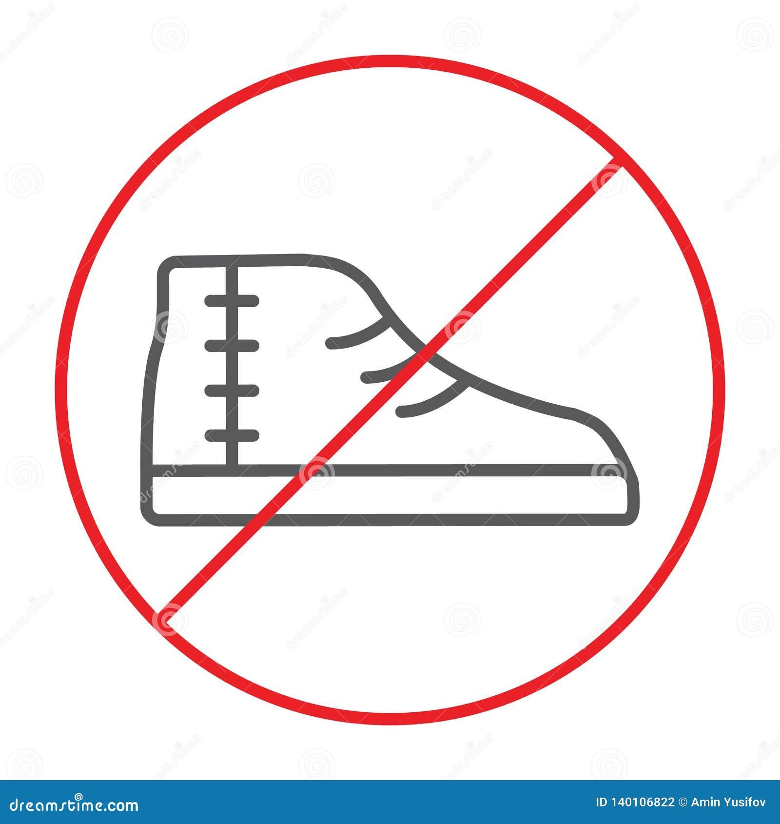 13e8f9f768011 No Footwear Thin Line Icon