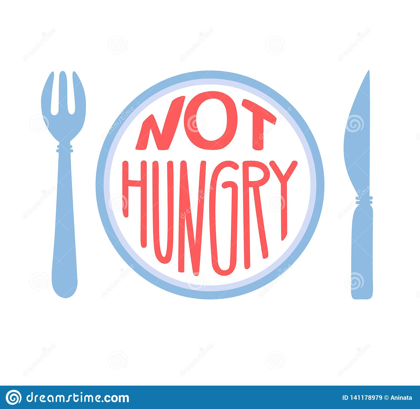 No hambriento Concepto de ayuno intermitente Mano dibujada poniendo letras al ejemplo de una placa con una bifurcación, un cuchil