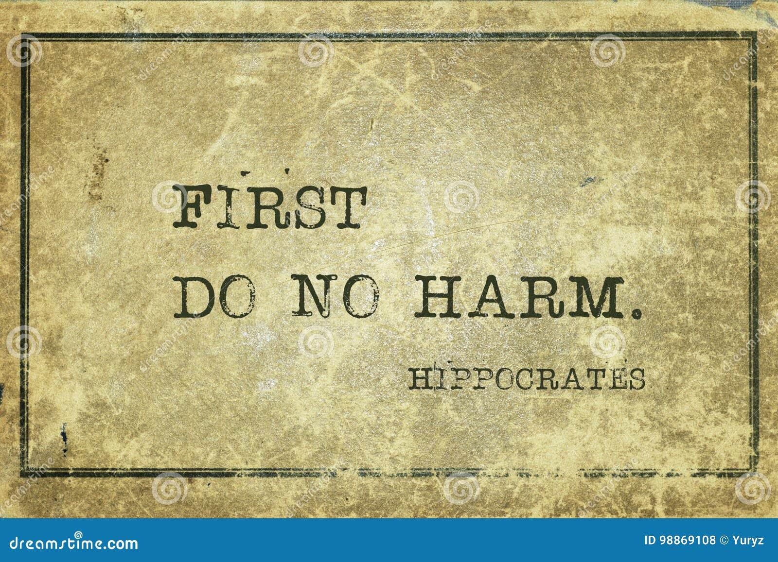 No harm Hippocrates