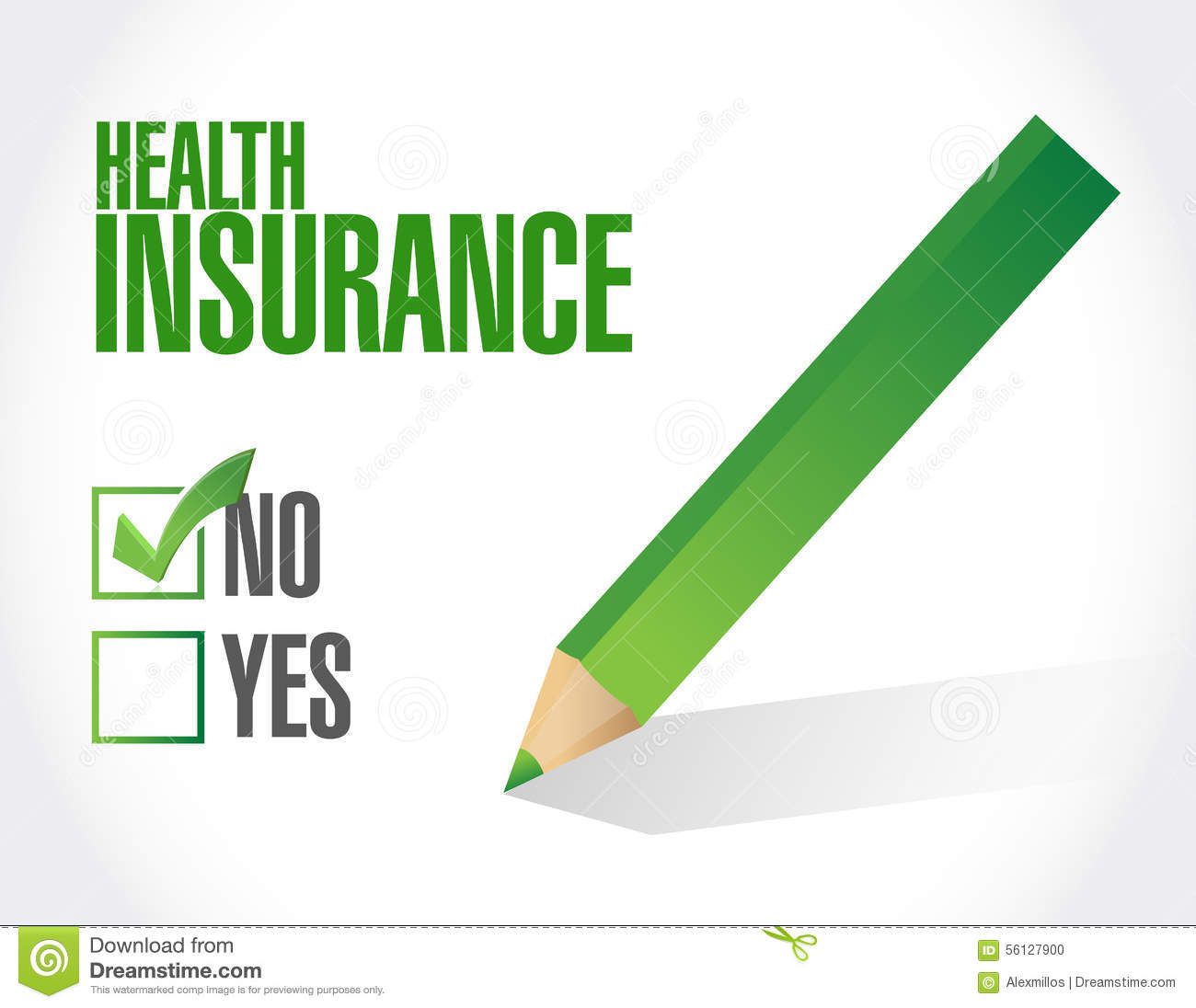 Health: No Health Insurance Check Sign Concept Stock Illustration