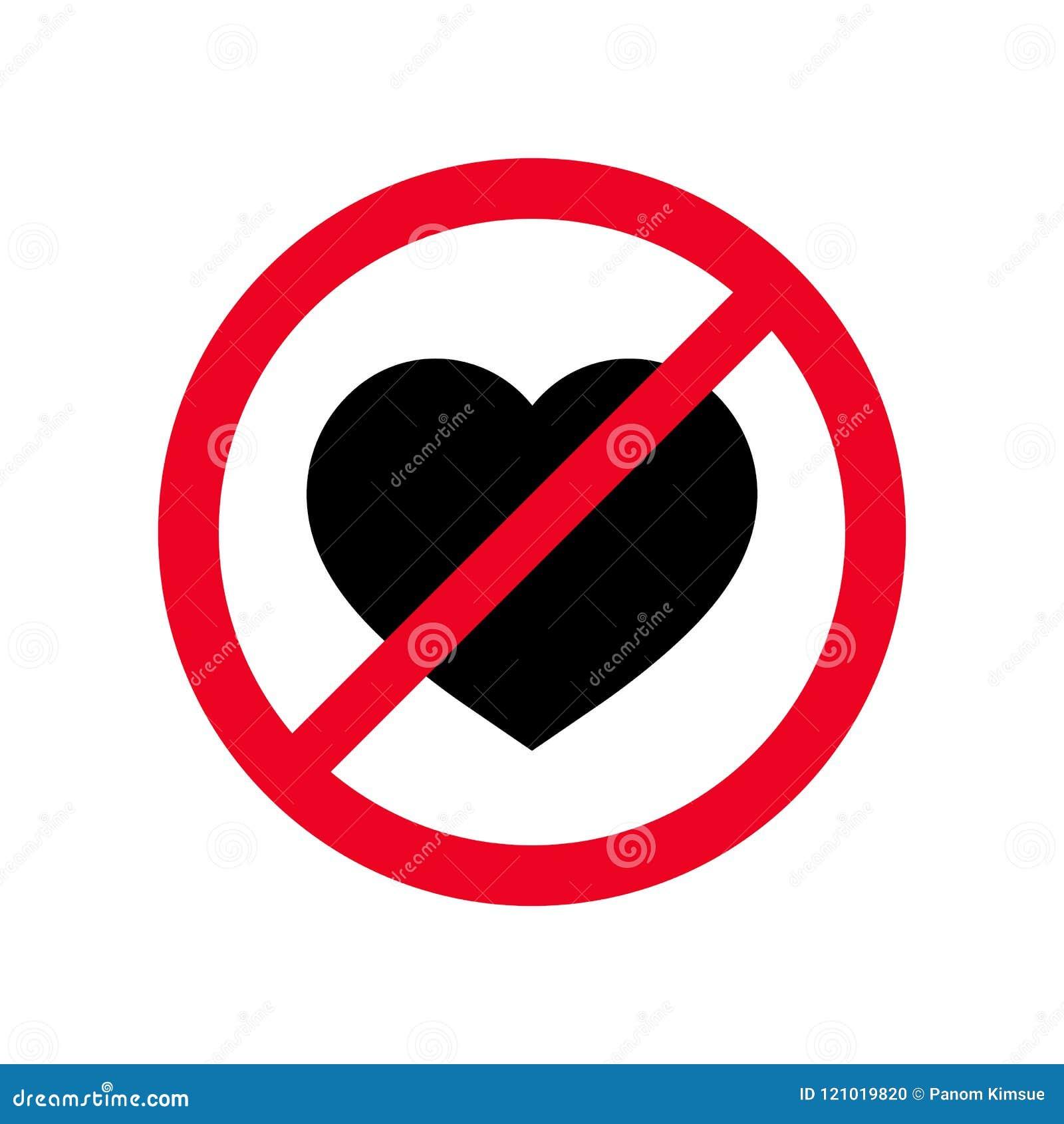No Heart Flat Symbol Vector Icon Forbidden Sign Love Feelings