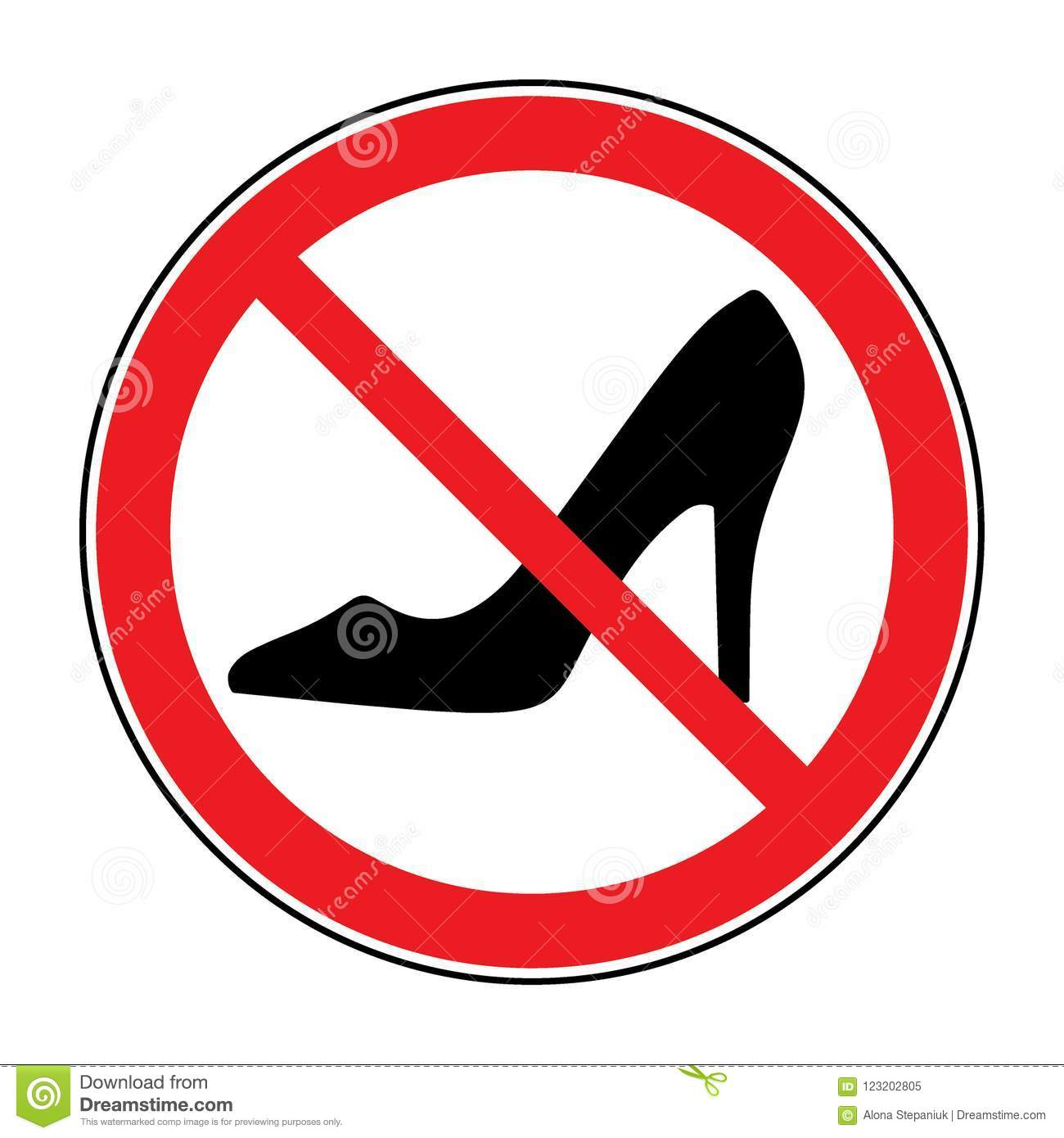 72f0bb6a1c50 Not allowed women shoe symbol. Stop label. Female of shoe in red round  isolated on white background. Stock Vector illustration.