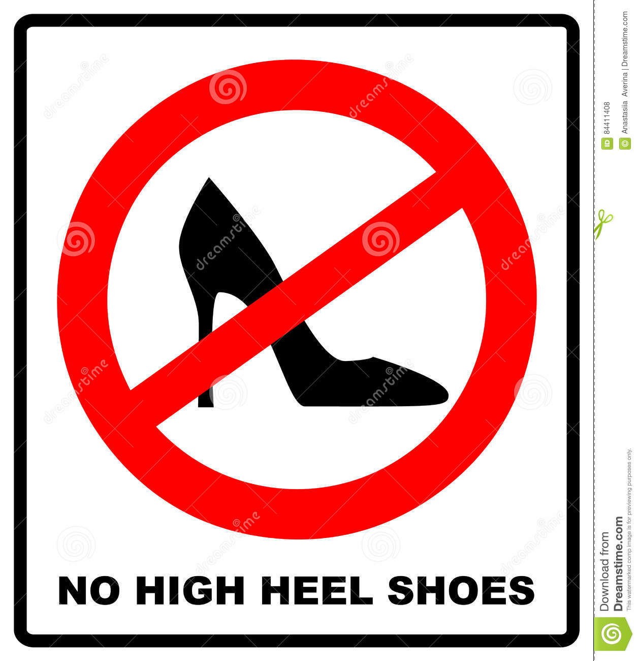 705fd543b025 No High Heel Shoes Sign On White Background. Vector Illustration ...