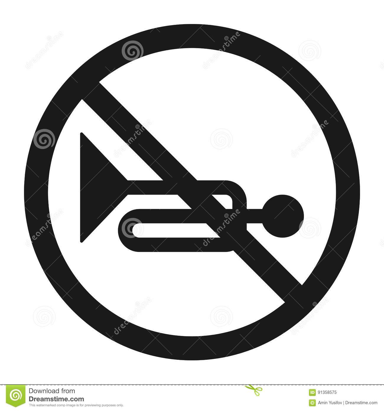 No Horn Prohibited Sign Line Icon