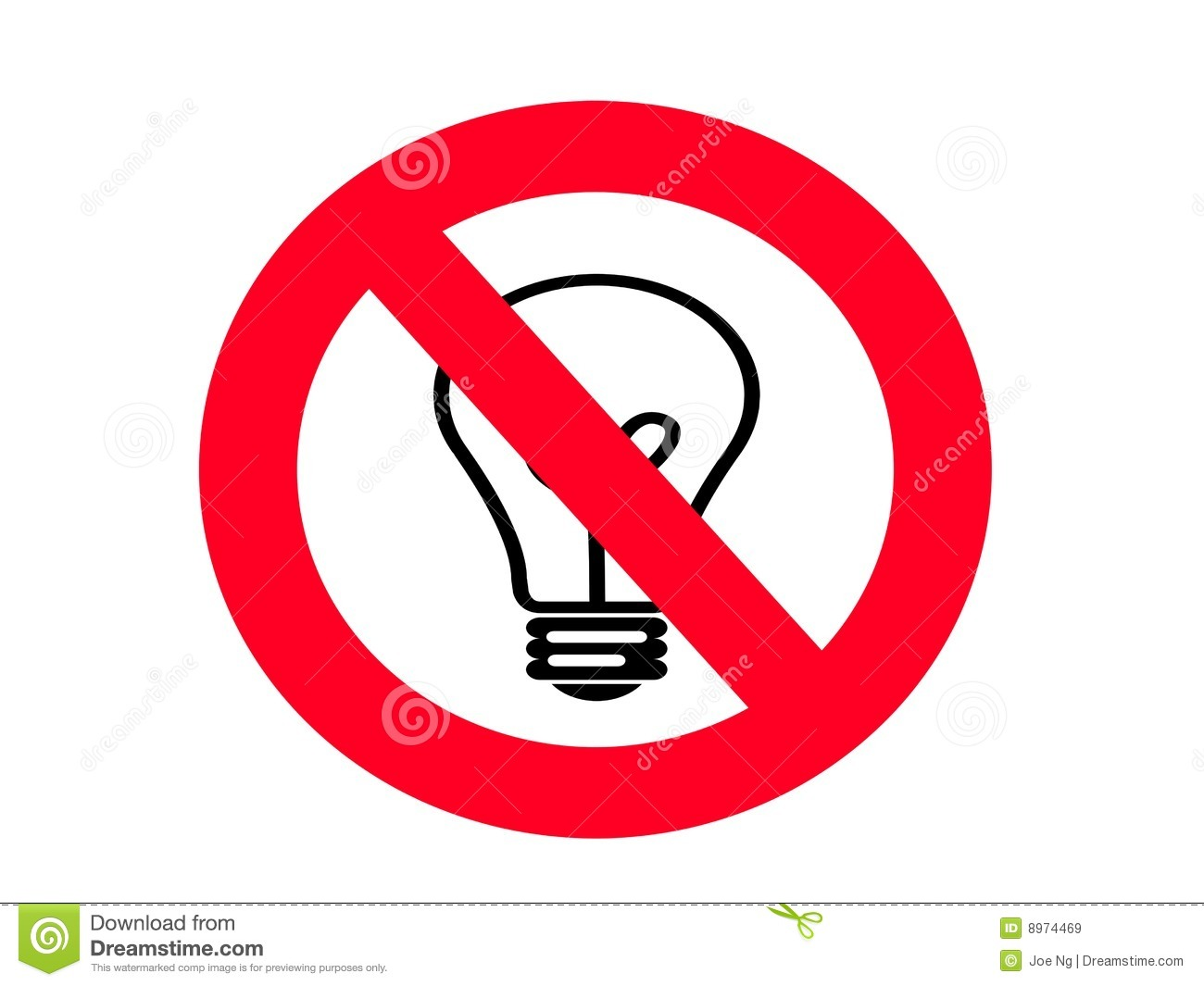 NO Incandescent Light Bulb SIGN Royalty Free Stock Images - Image ...