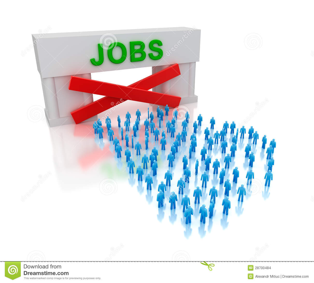 No jobs unemployment isolated on white concept stock - Clipart illustration ...
