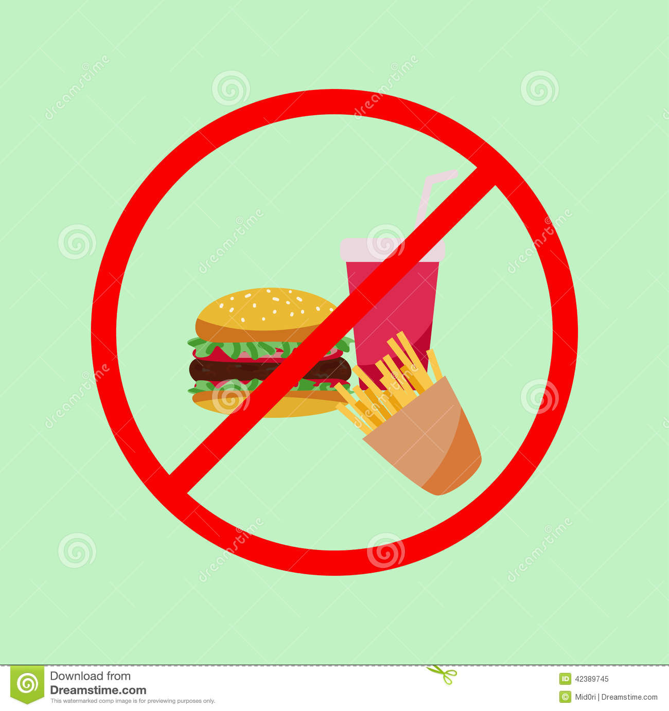 No junk food poster stock vector  Illustration of safety