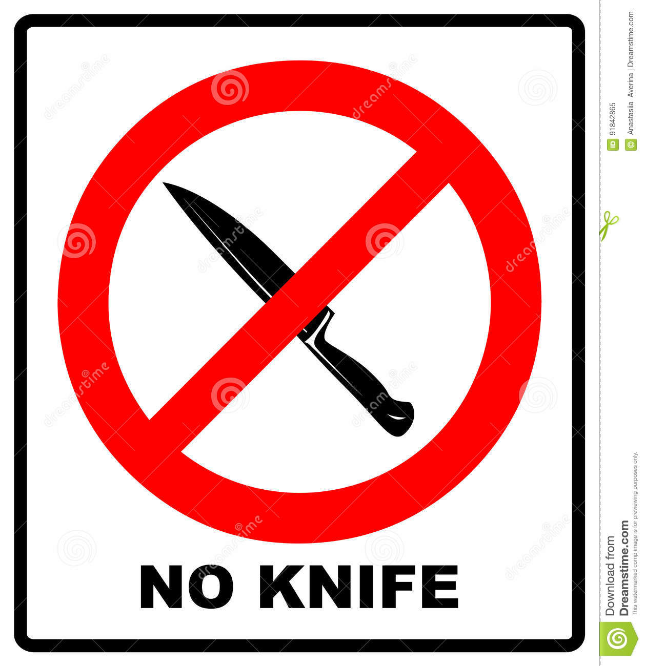 No Knife No Weapon Prohibition Sign Sign On White