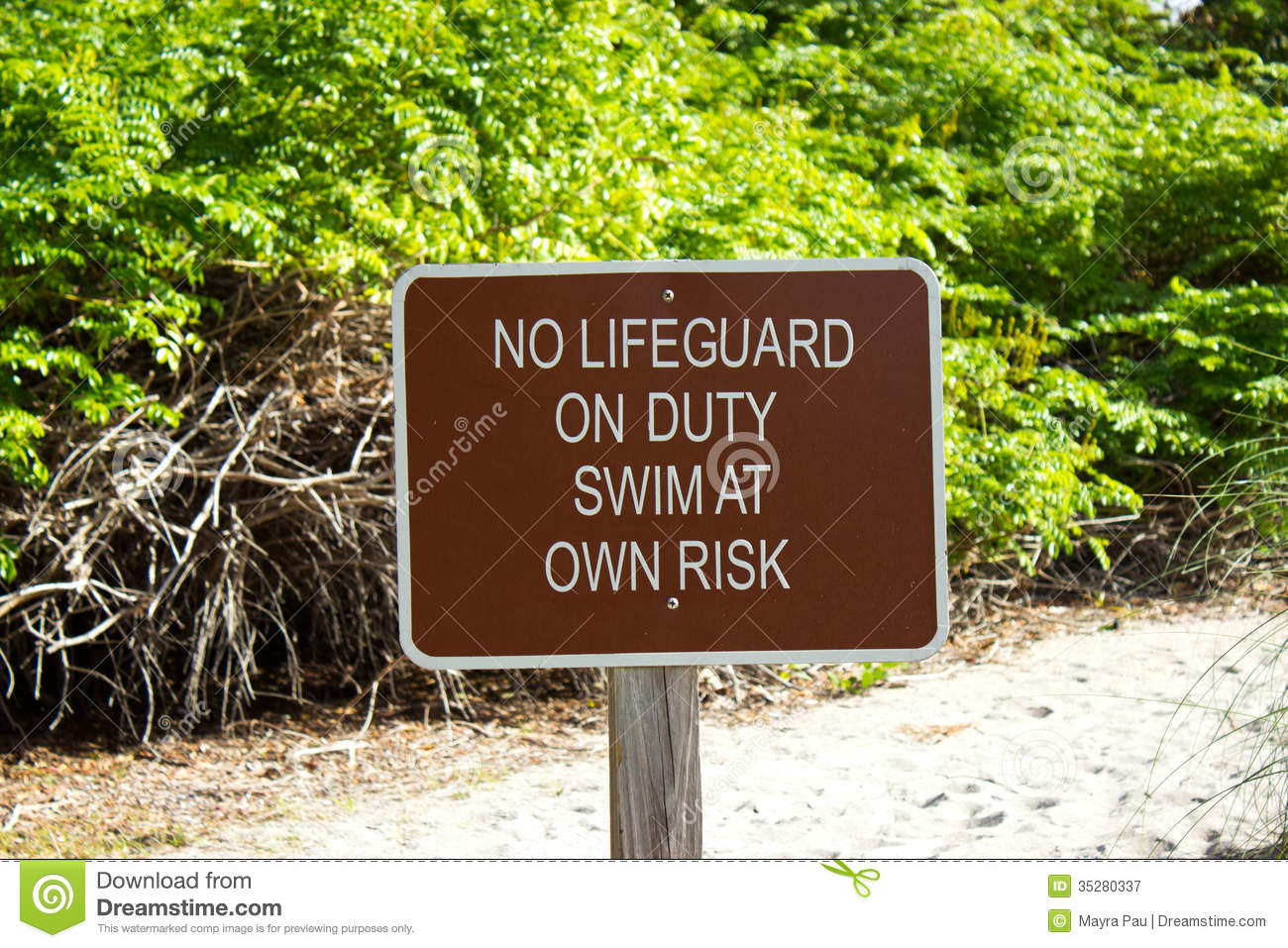 No lifeguard on duty sign royalty free stock photography for Design your own bathers