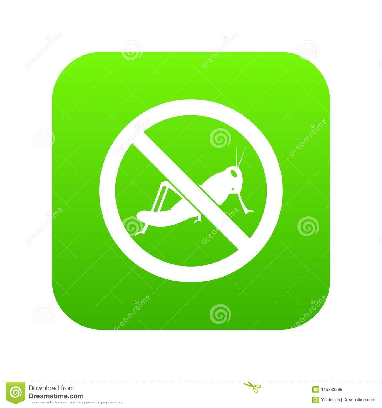 No locust sign icon digital green