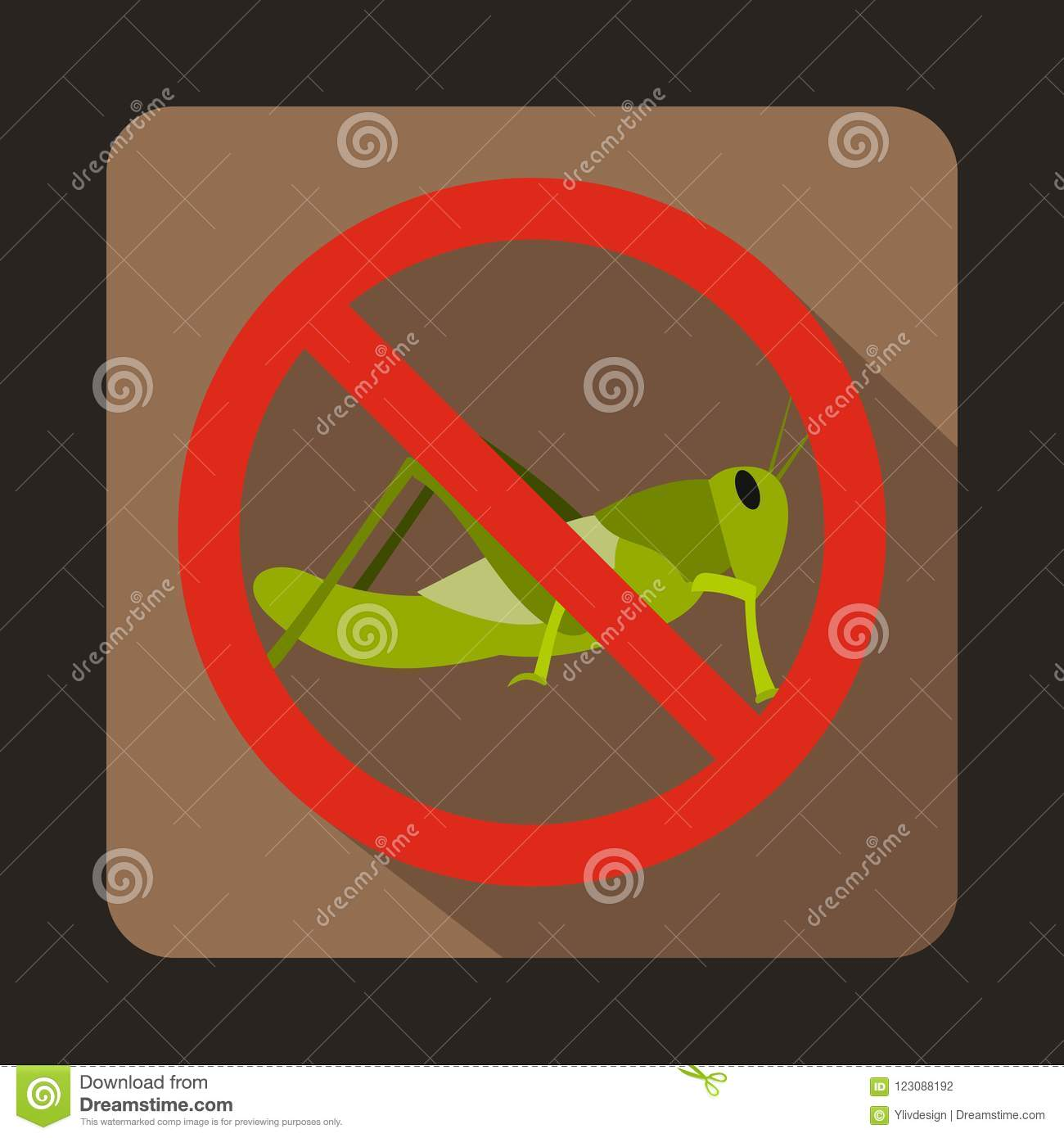 No locust sign icon, flat style