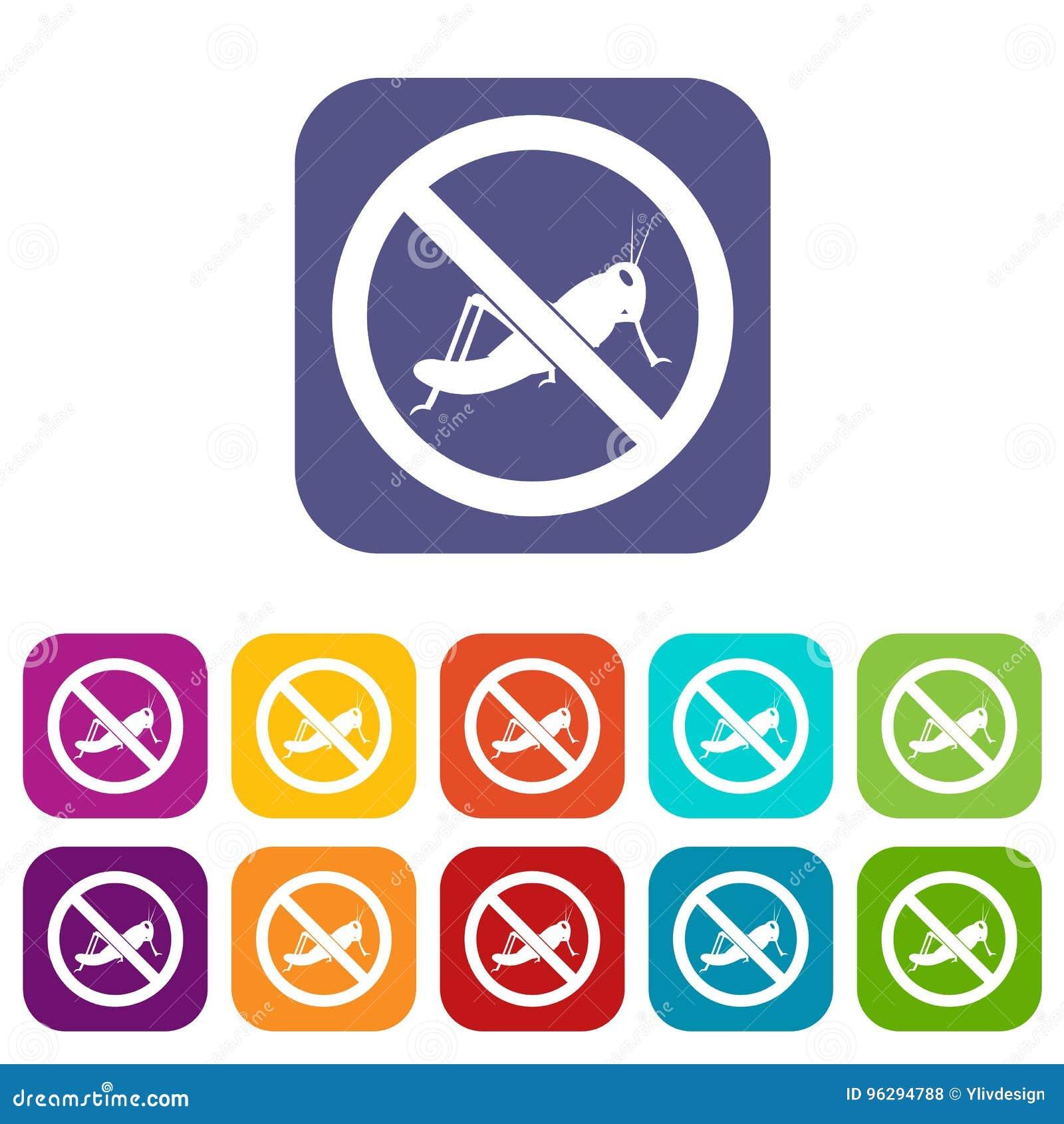 No locust sign icons set