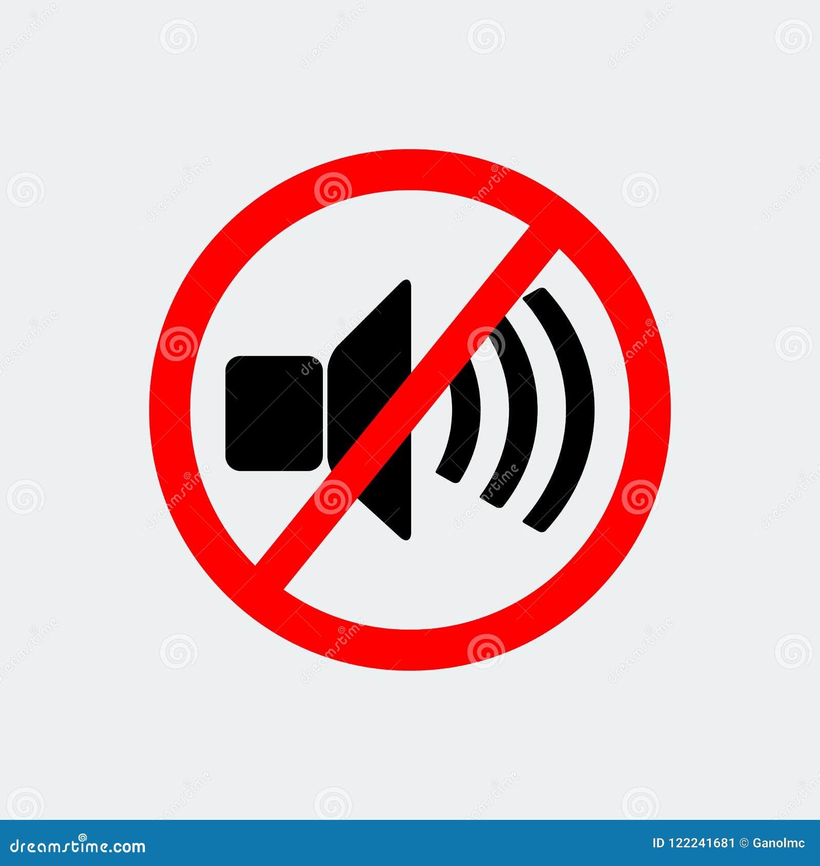 No Loud Music Prohibition Stop Symbol Vector Illustration Stock