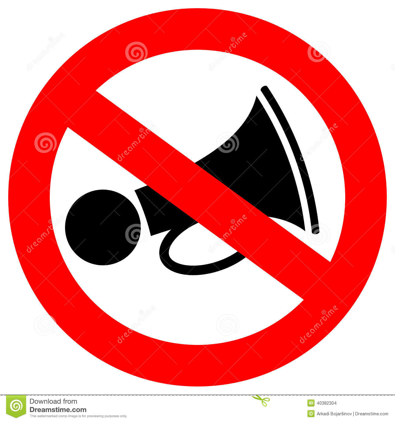 No Loud Sound Sign Stock Vector - Image: 40382304