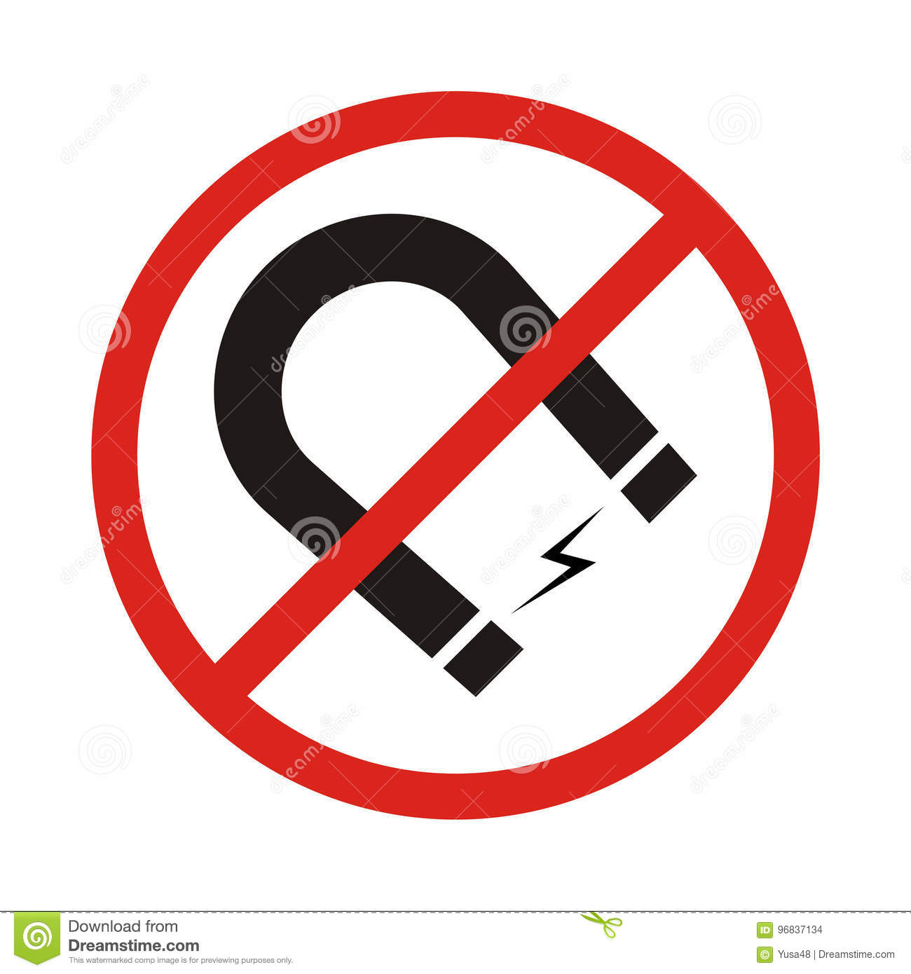 Attention No Magnet Symbol On White Background Stock Vector ...