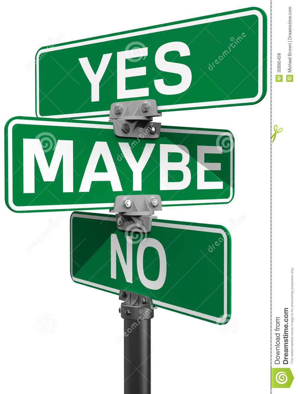 no maybe yes street sign decision stock illustration