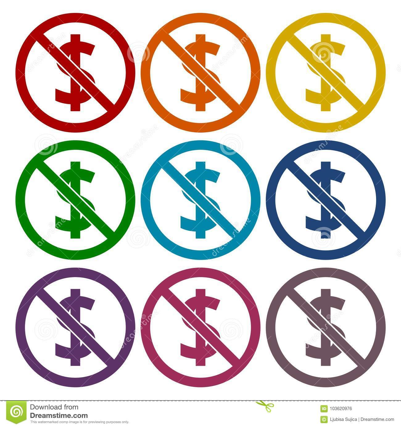 No Money Sign Icons Set Stock Vector Illustration Of Fuse 103620976 Box