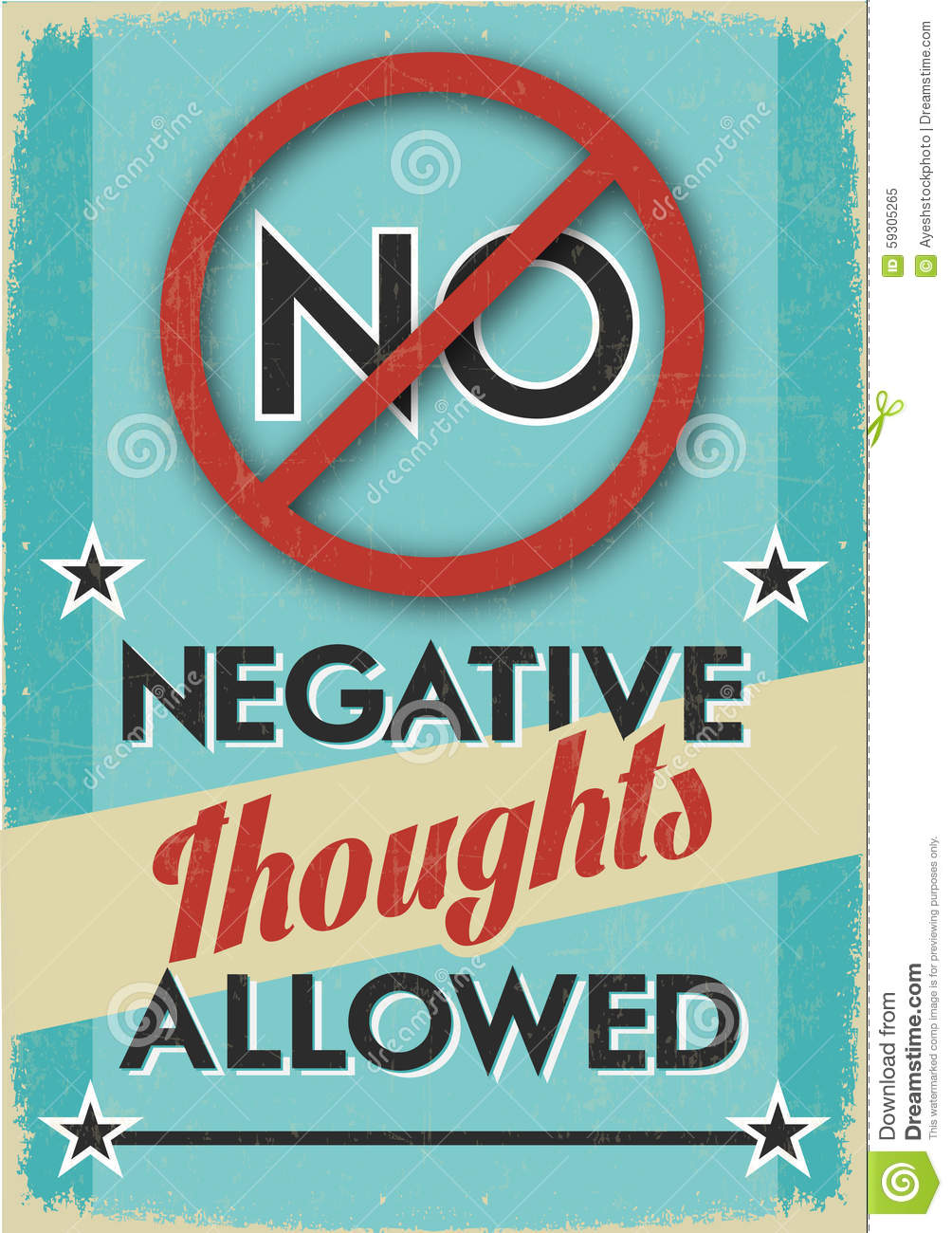 no negative thoughts allowed stock illustration image