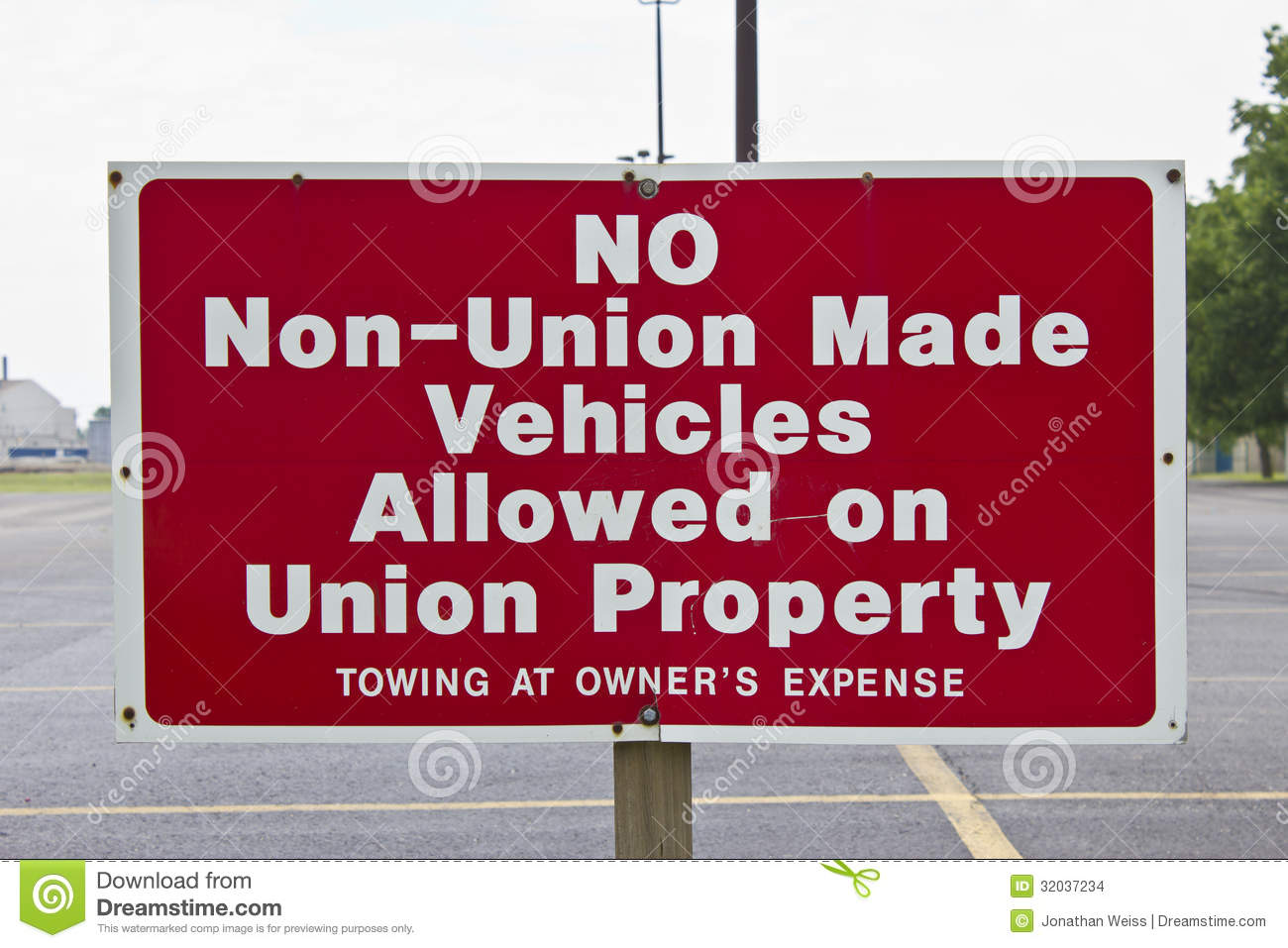 No non union made vehicles allowed stock images image for Union made business cards