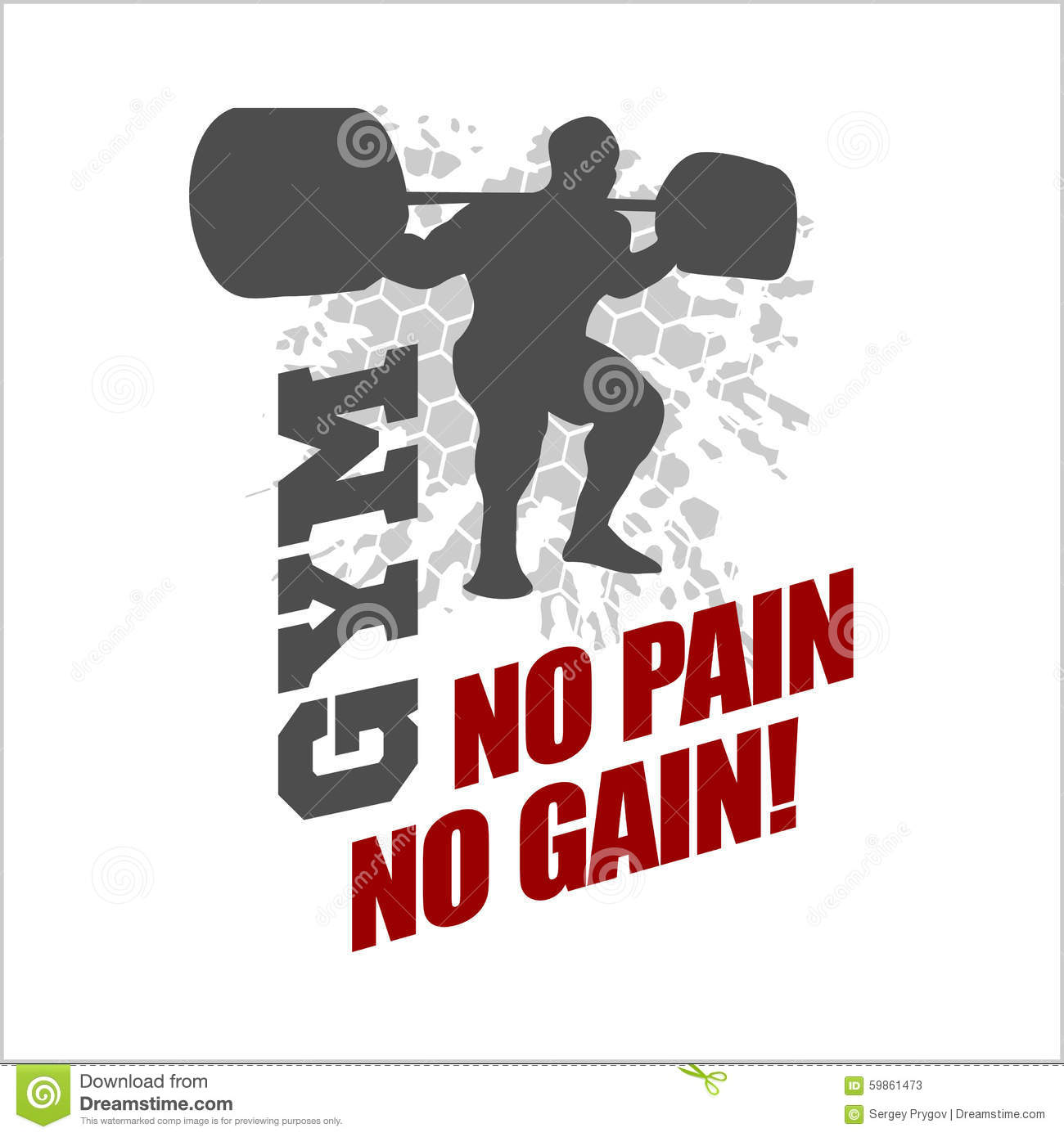 No Pain No Gain - Label For Flayer Poster Logo T Stock
