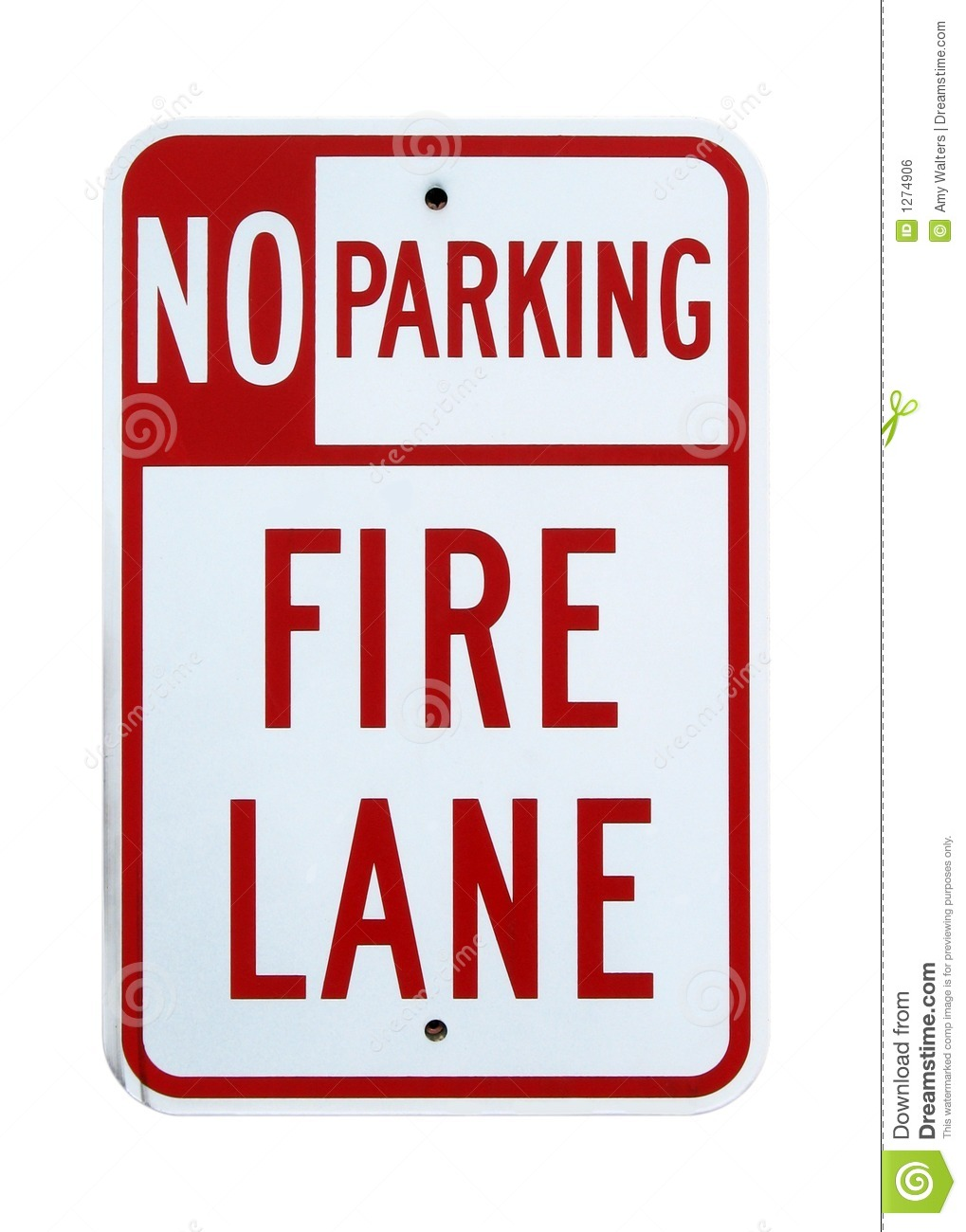 No Parking Fire Lane sign - Isolated