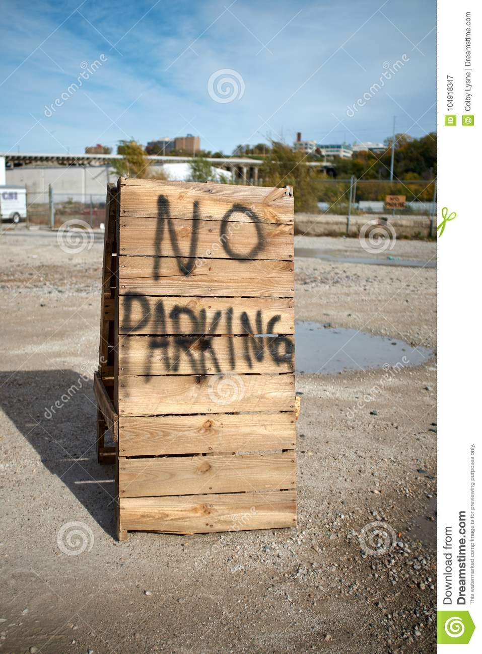 No Parking Spray Painted Onto A Wooden Sign Stock Image Image Of