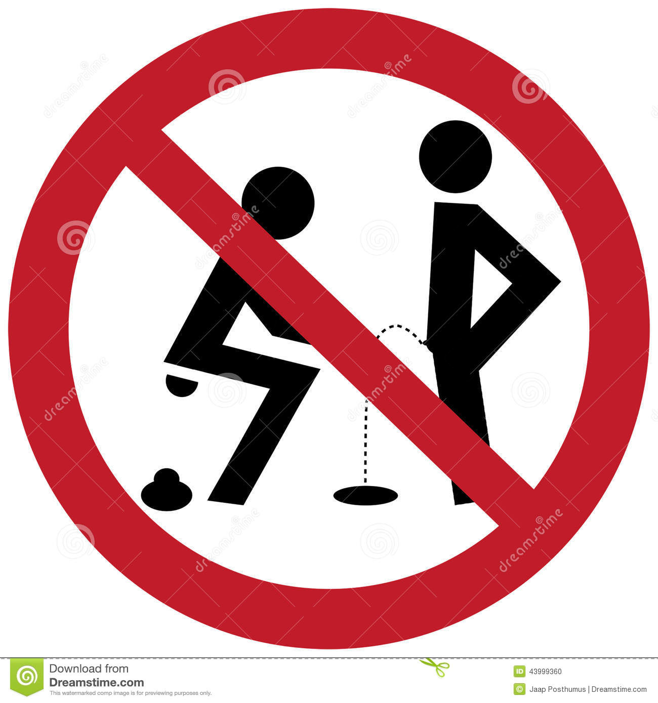 No Pee And Relieve Sign Stock Illustration - Image: 43999360