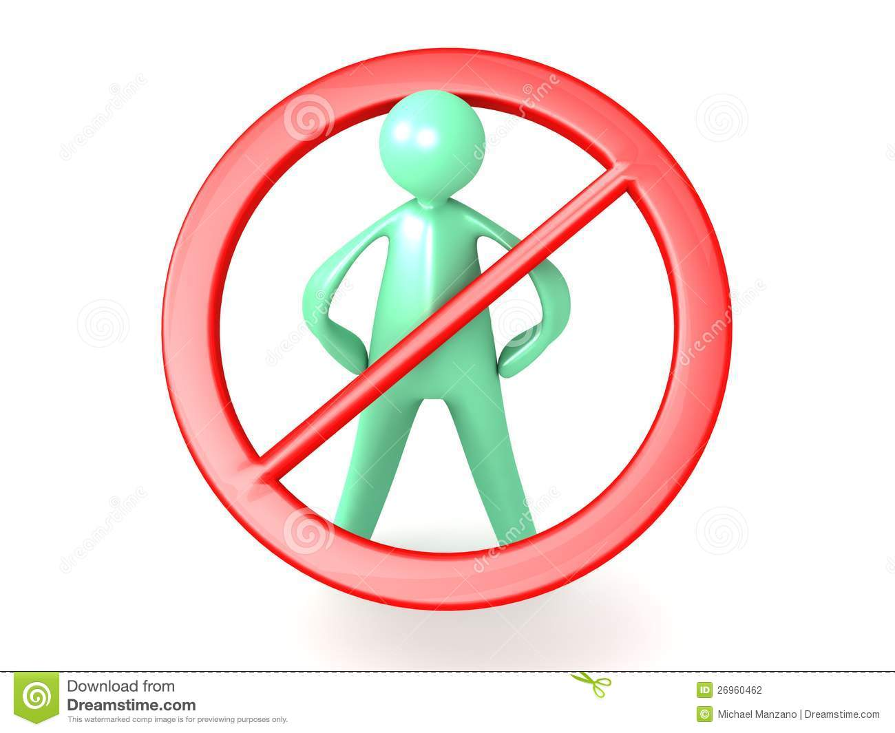 An illustration of a red no humans sign allowed on a white background.