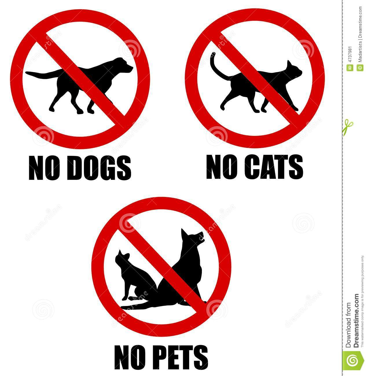 An illustration featuring 3 red banned symbols involving pets - one ...