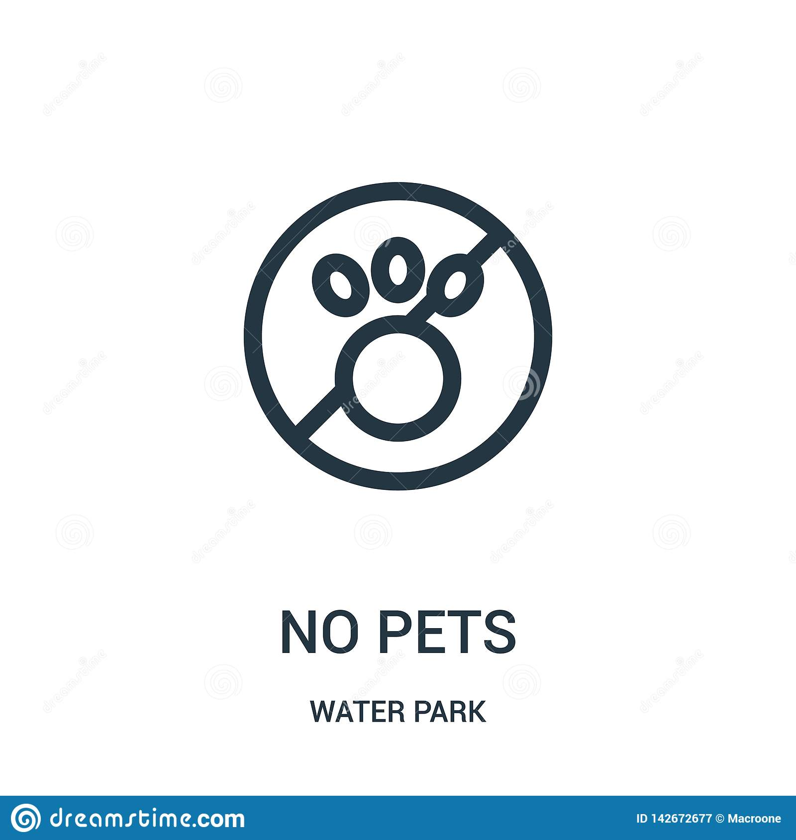 no pets icon vector from water park collection. Thin line no pets outline icon vector illustration. Linear symbol for use on web