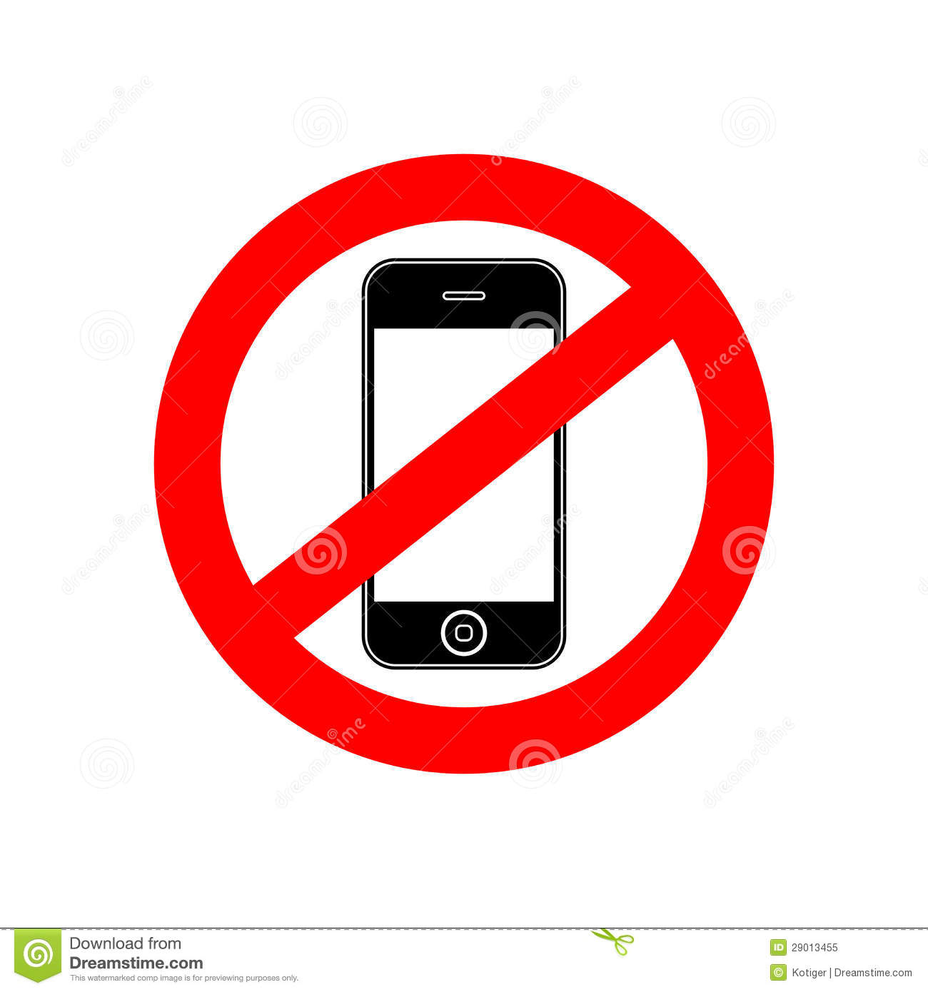 No Phone Sign Banner Royalty Free Stock Photo - Image: 29013455