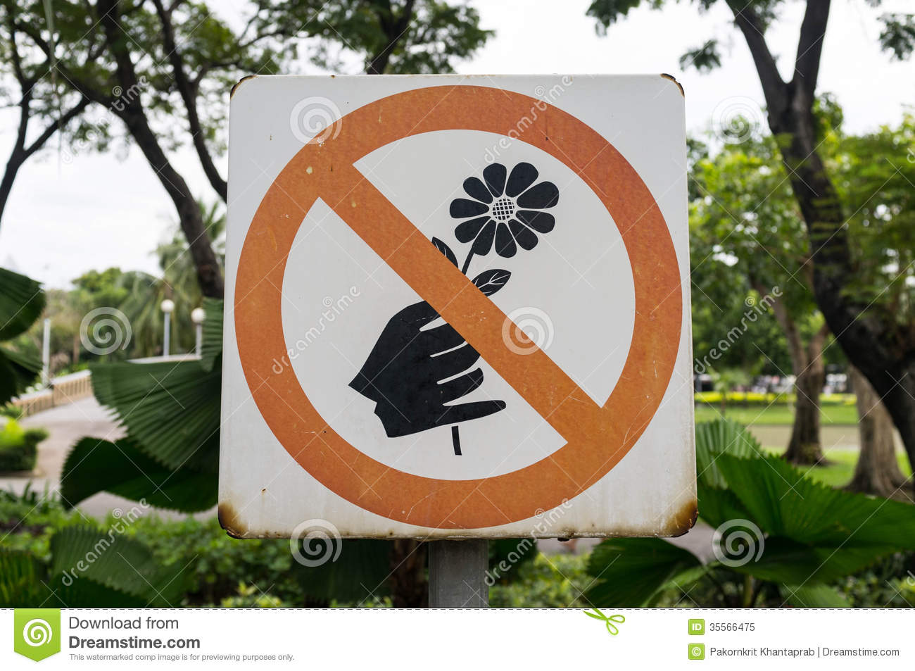 no picking flowers sign royalty free stock photo image