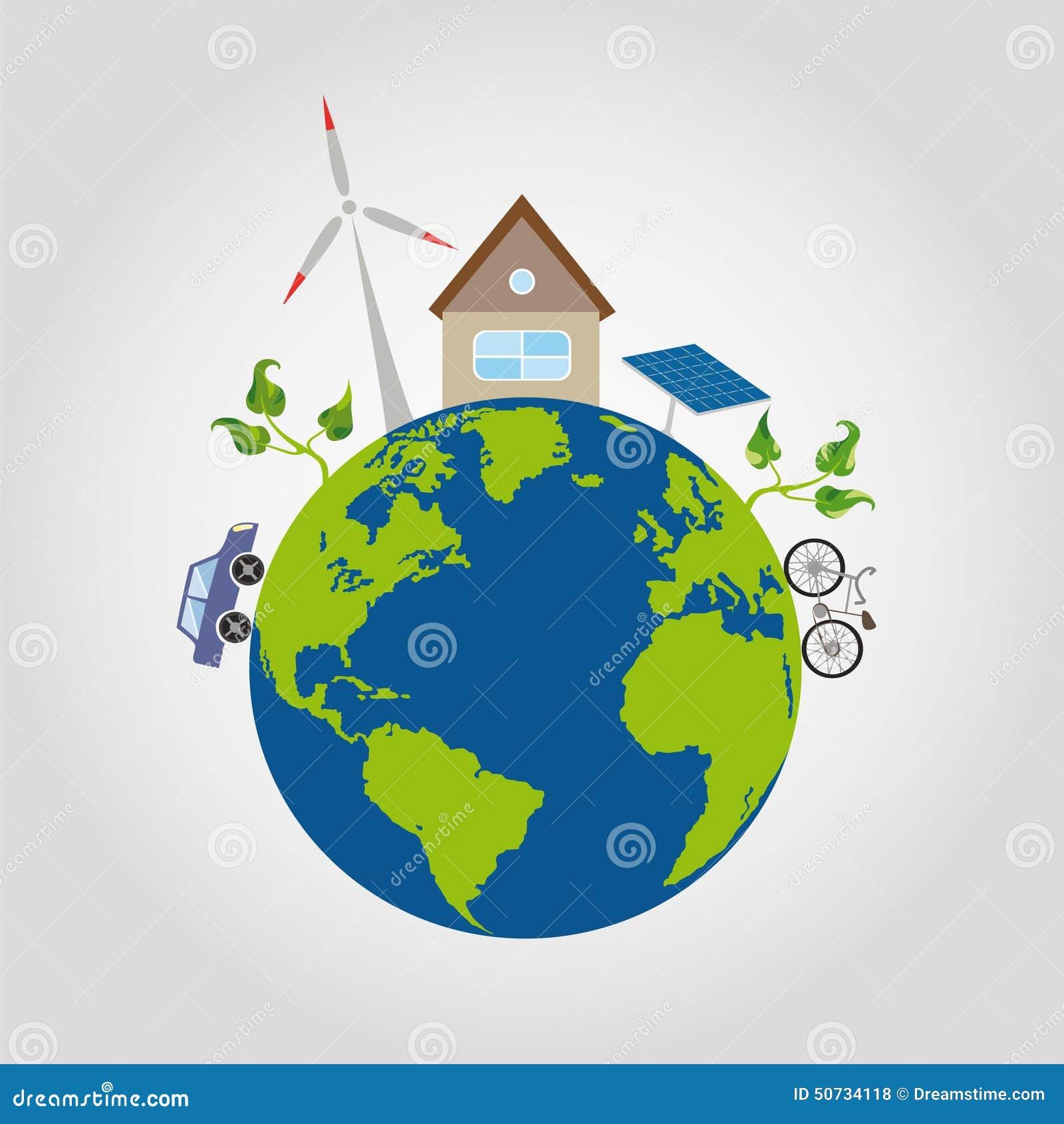 No planeta verde uma terra com oceanos azuis é uma casa confortável e umas fontes de energia alternativas, moinho de vento, bater
