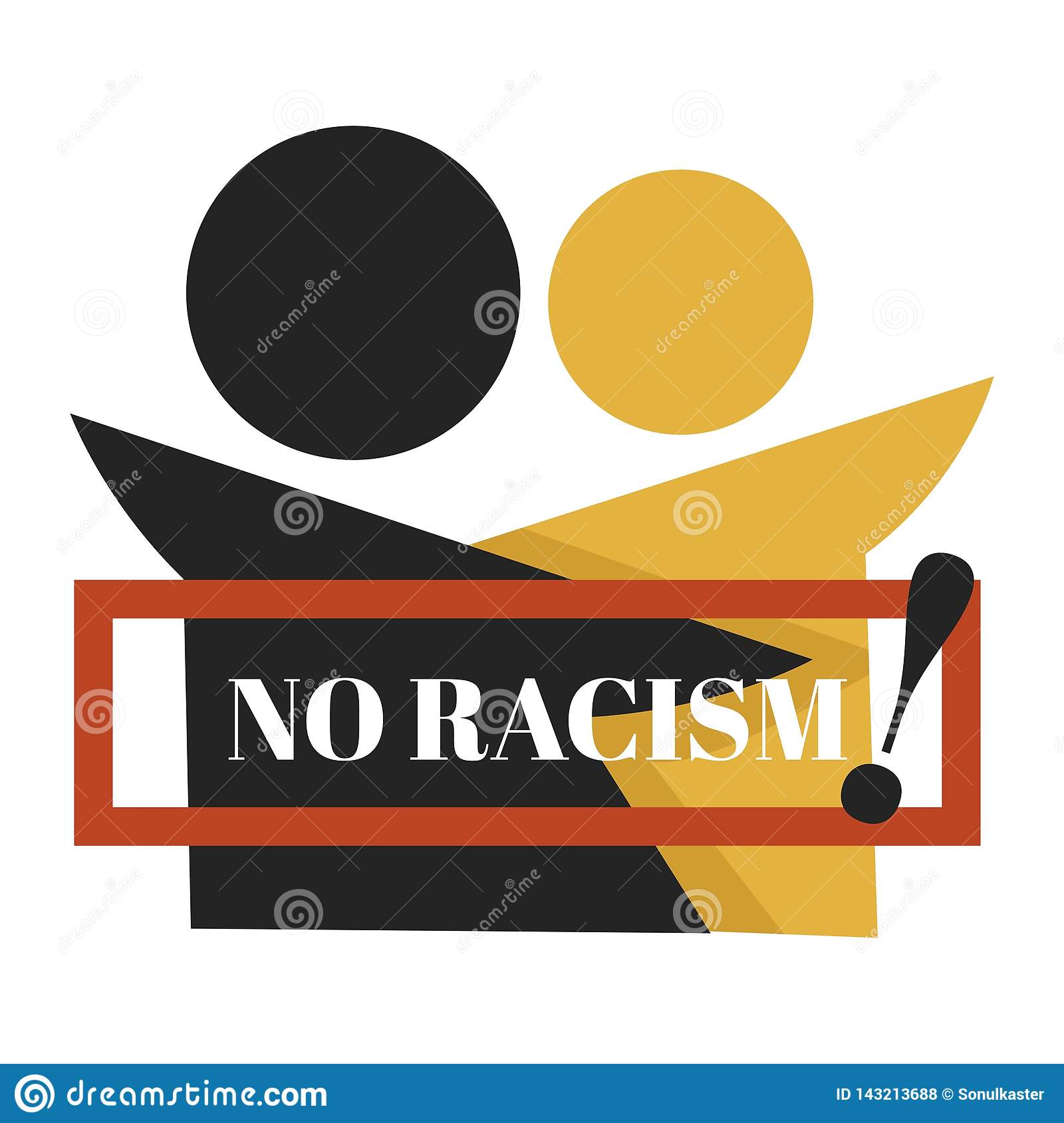 No racism isolated emblem dark and fair skin characters