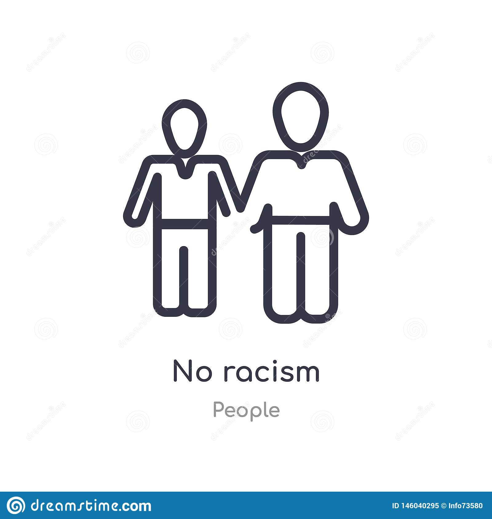 no racism outline icon. isolated line vector illustration from people collection. editable thin stroke no racism icon on white