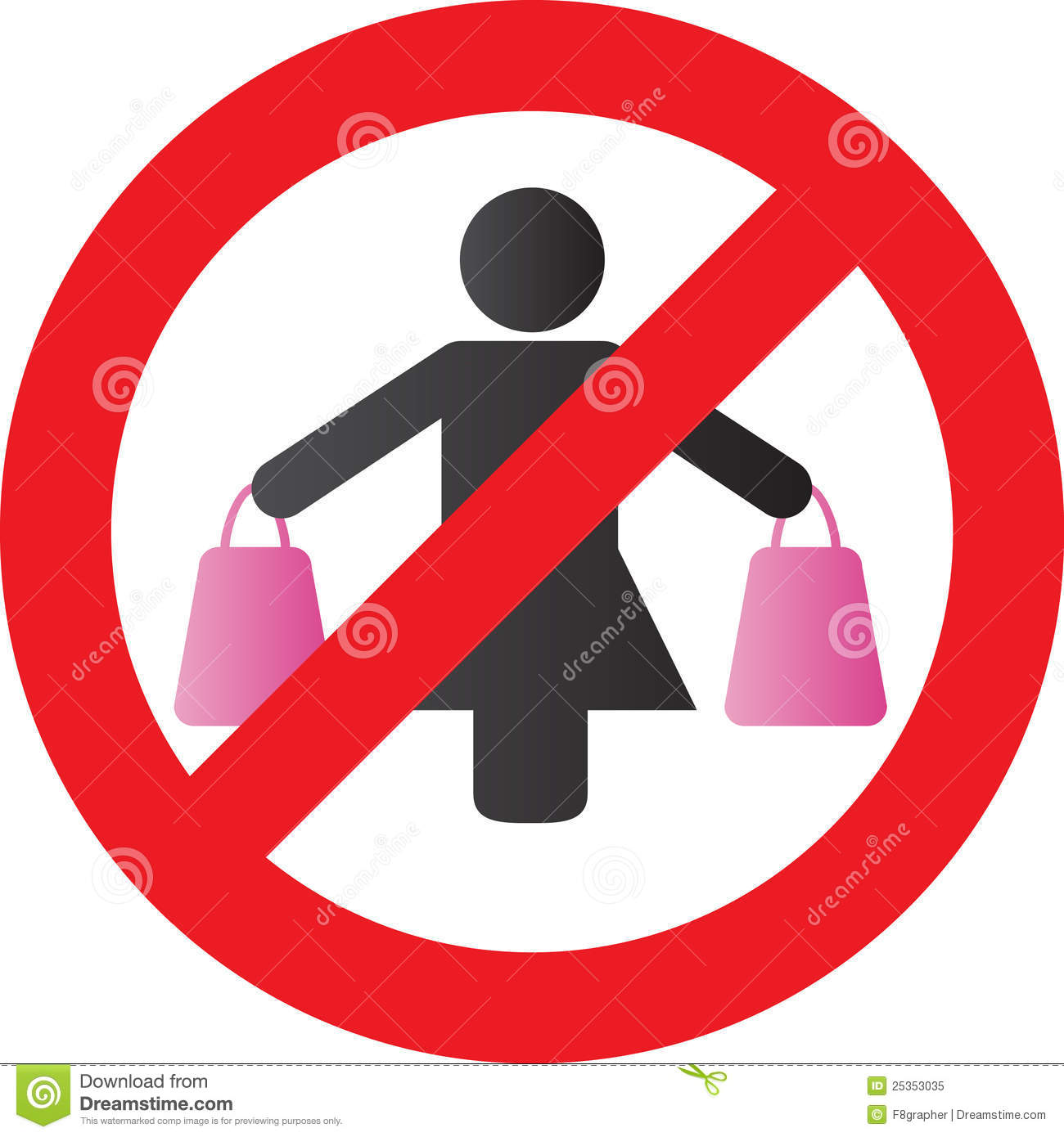 woman carrying shopping bags in each hand with a sign across it ...